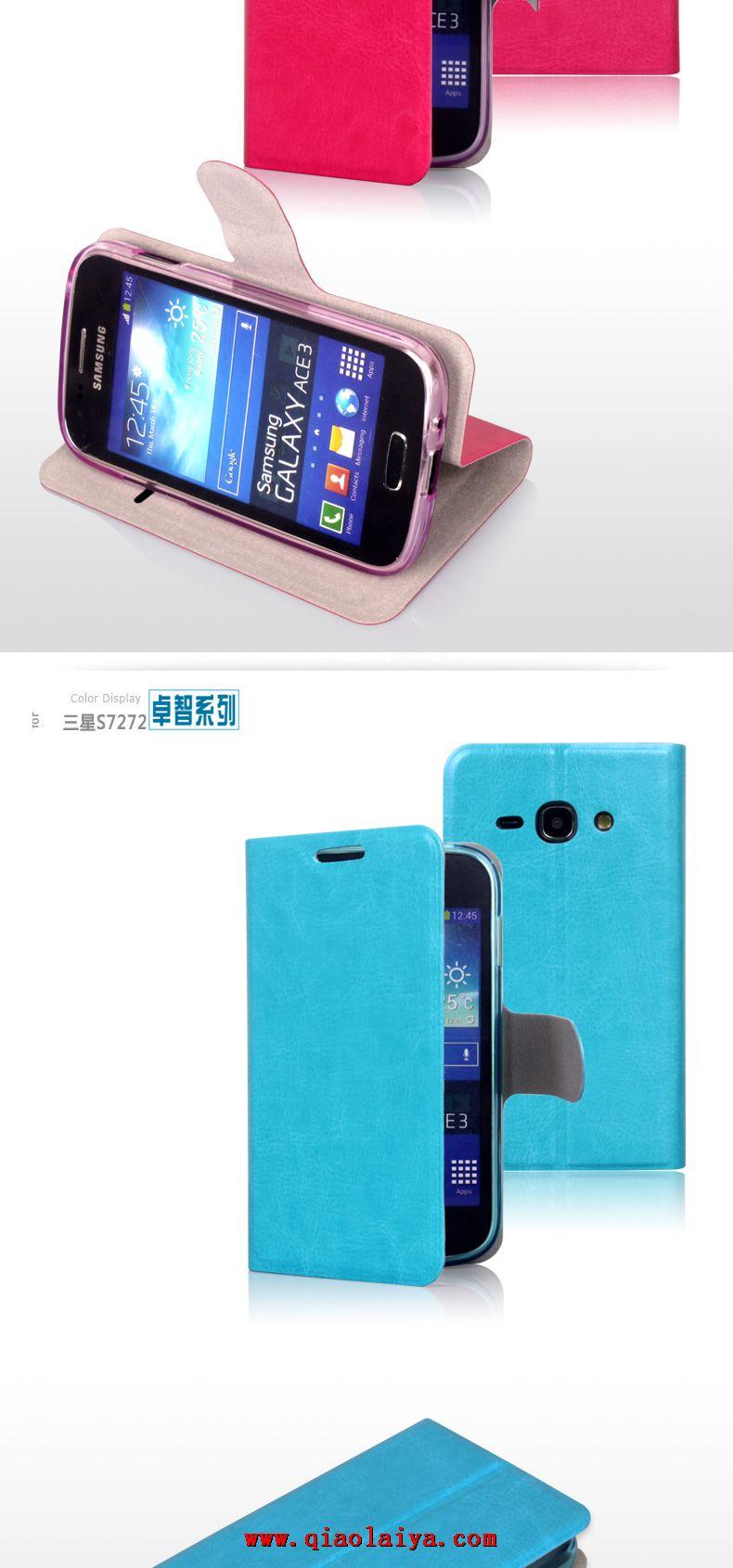 Samsung GT-S7275 étui en cuir de qualité Galaxy Ace 3 Coque de ...