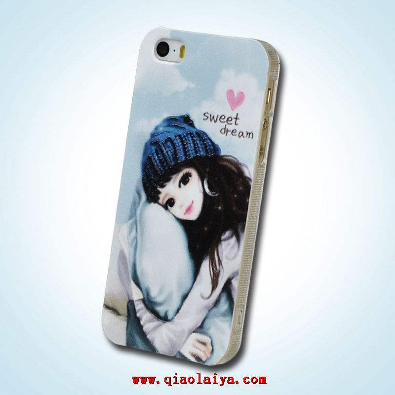 Pomme 5s iphone5 relief peint illustration fille tui de for Housse telephone mobile