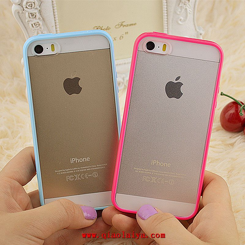 iphone 5s transparent silicone de couleur de t l phone de coque fronti re rose vente chaude en ligne. Black Bedroom Furniture Sets. Home Design Ideas