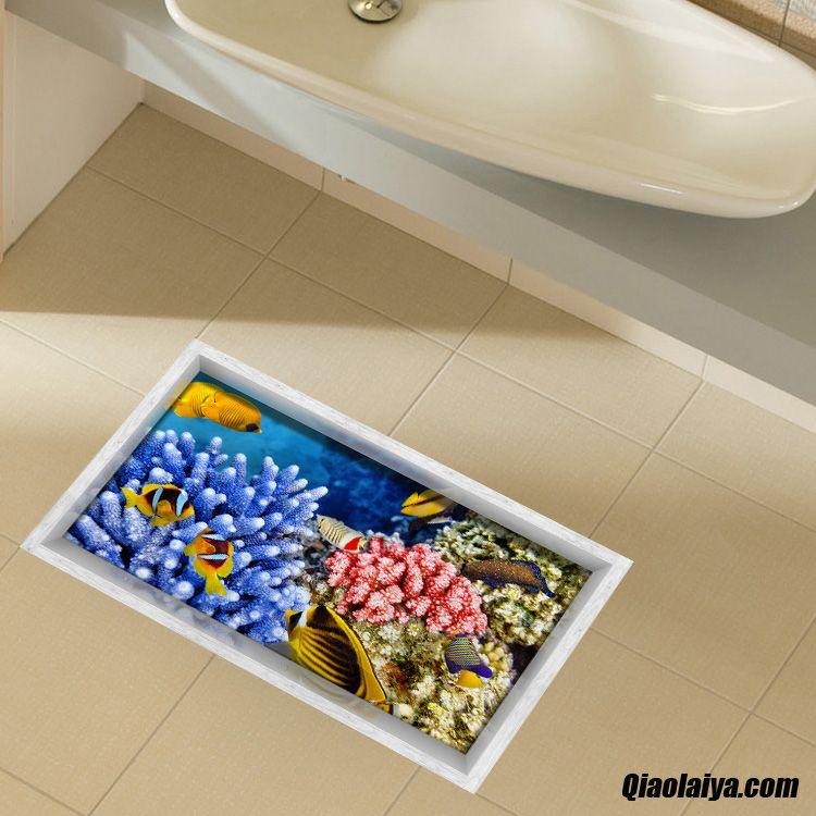 d corations murales toilettes stickers de carreaux de sol salle de s jour autocollants. Black Bedroom Furniture Sets. Home Design Ideas