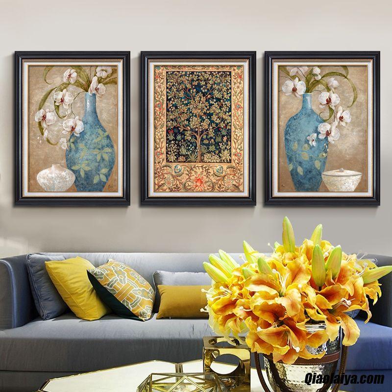 Peintures De Triptyque Tournesol La Peinture Mur De Fond